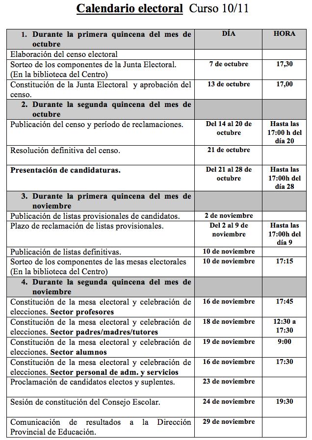 Calendario Elecciones Consejo Escolar 2010