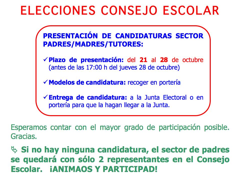 Presentación de candidaturas al Consejo Escolar
