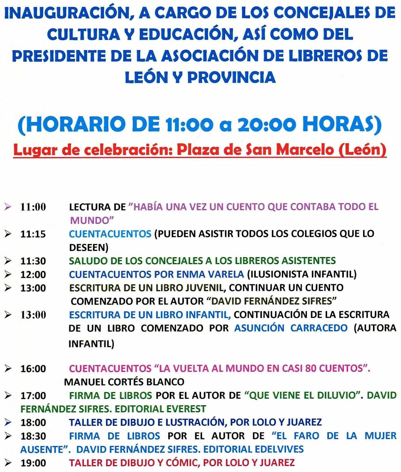 Feria del libro en Leó, programa del próximo 2 de abril