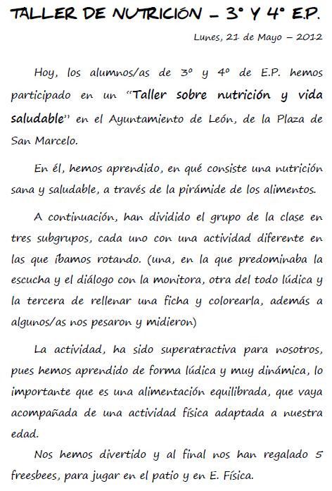 Taller de nutrición