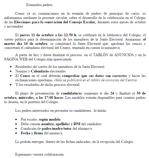 Información para padres sobre las elecciones 12/13 al Consejo Escolar