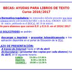 Ayuda libros de texto EP y ESO, curso 2016-17